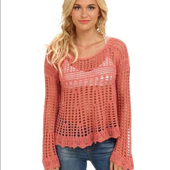 Free People coral sweater size M coral open knit Free People sweater! flows out super cute and super light weight! perfect condition! Free People Sweaters Crew & Scoop Necks