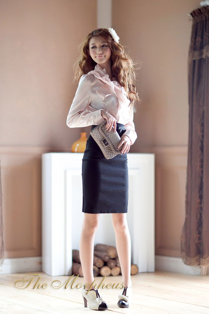 Pink+Ruffle+Collar+Long+Sleeve+Designer+Shirt