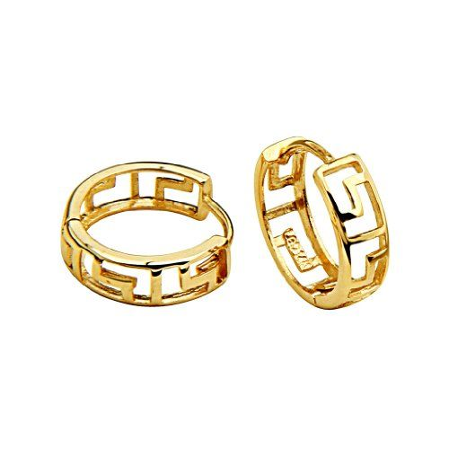 22ct YELLOW GOLD PLATED on Solid Sterling Silver Hinged Sleeper Earring 22mm