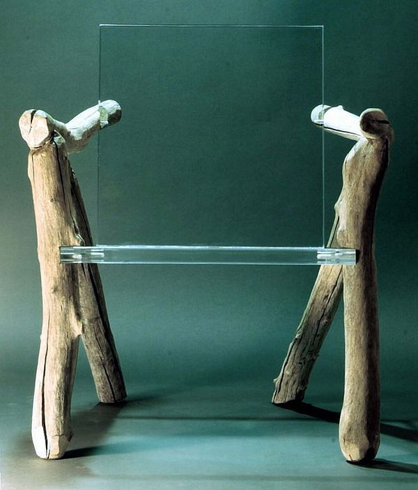Ultra Modern Bare Bones Ghost Chair: Worn Wood