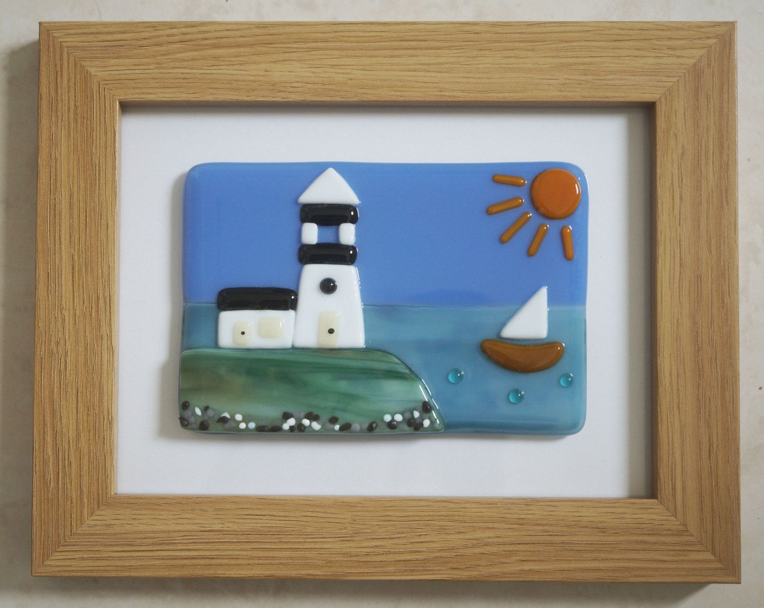 Fused Glass Wall Art Framed Picture Lighthouse By The By Jewlls4u Fused Glass Wall Art Glass Wall Art Framed Wall Art