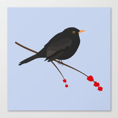 Black Bird Stretched Canvas by JacquelineTurtonDesigns - $85.00