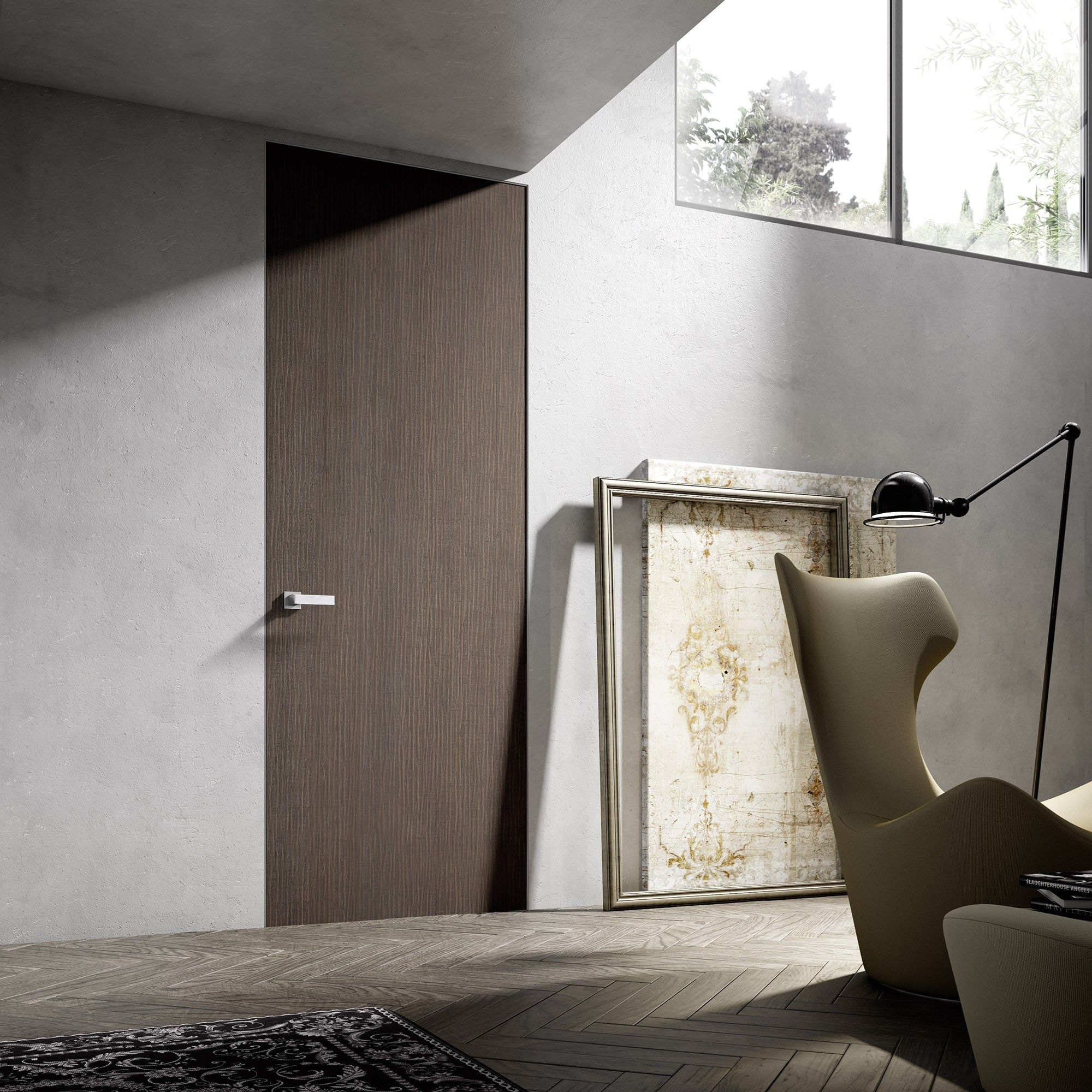 Lovely Modern Interior Door With Custm Matte Tobacco Finish
