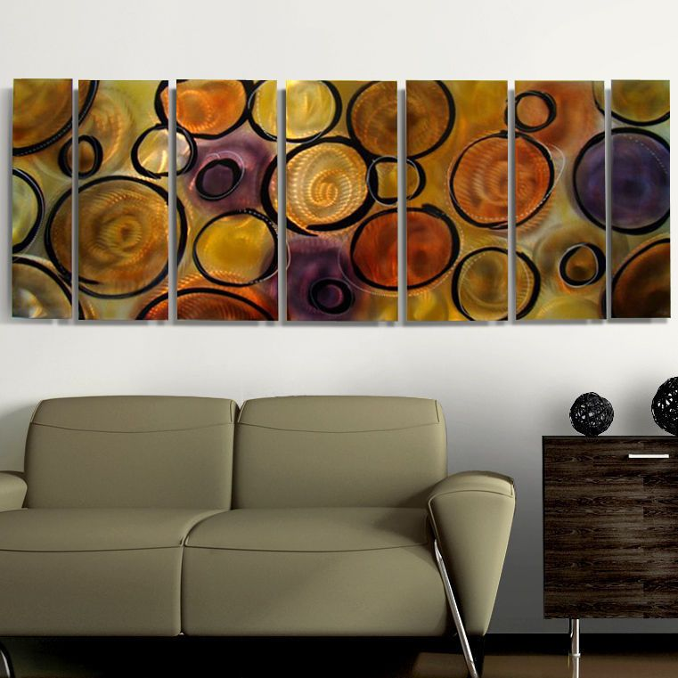 Abstract modern metal wall art painting decor music of the spheres jon allen