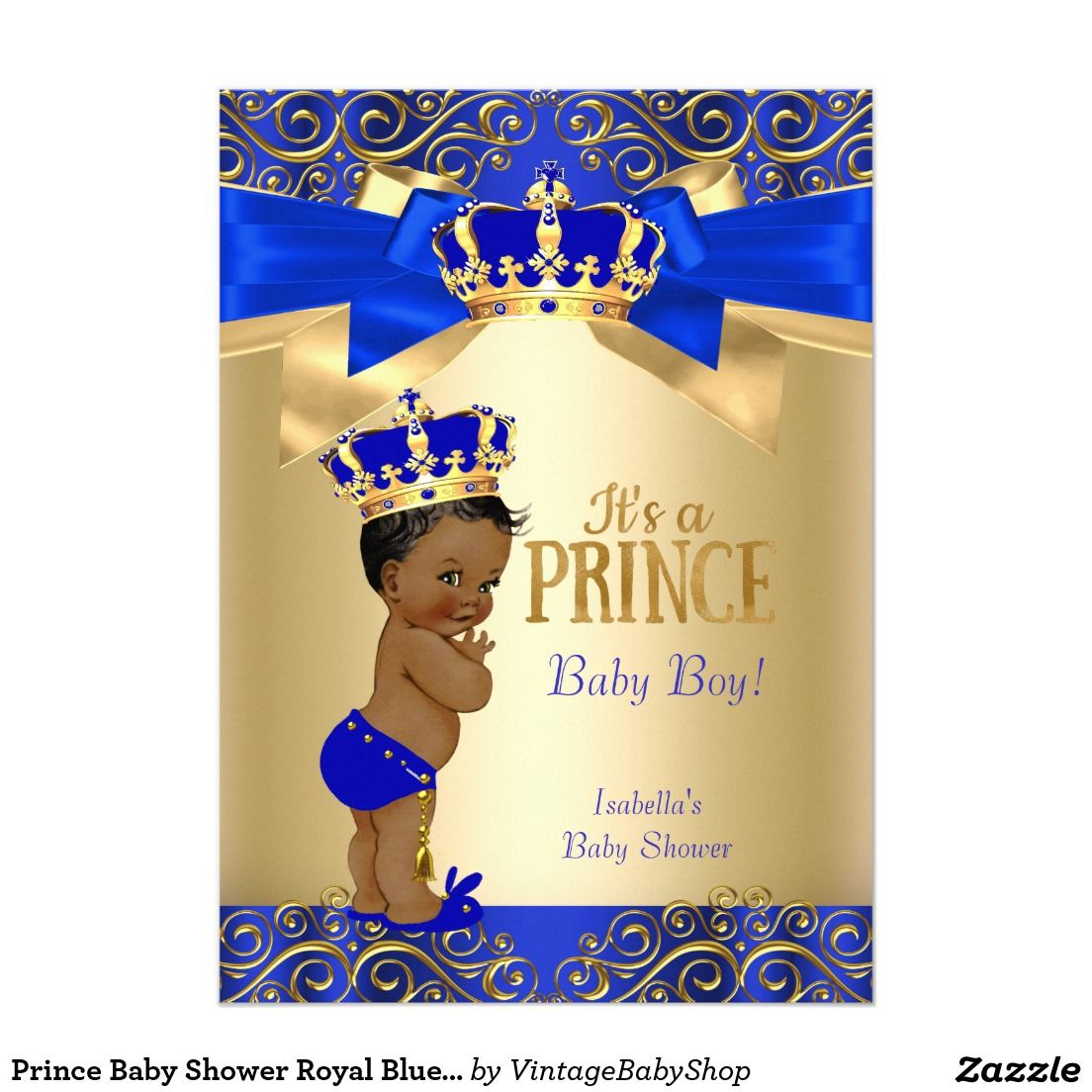 Prince Baby Shower Royal Blue Gold Damask Ethnic 5x7 Paper ...