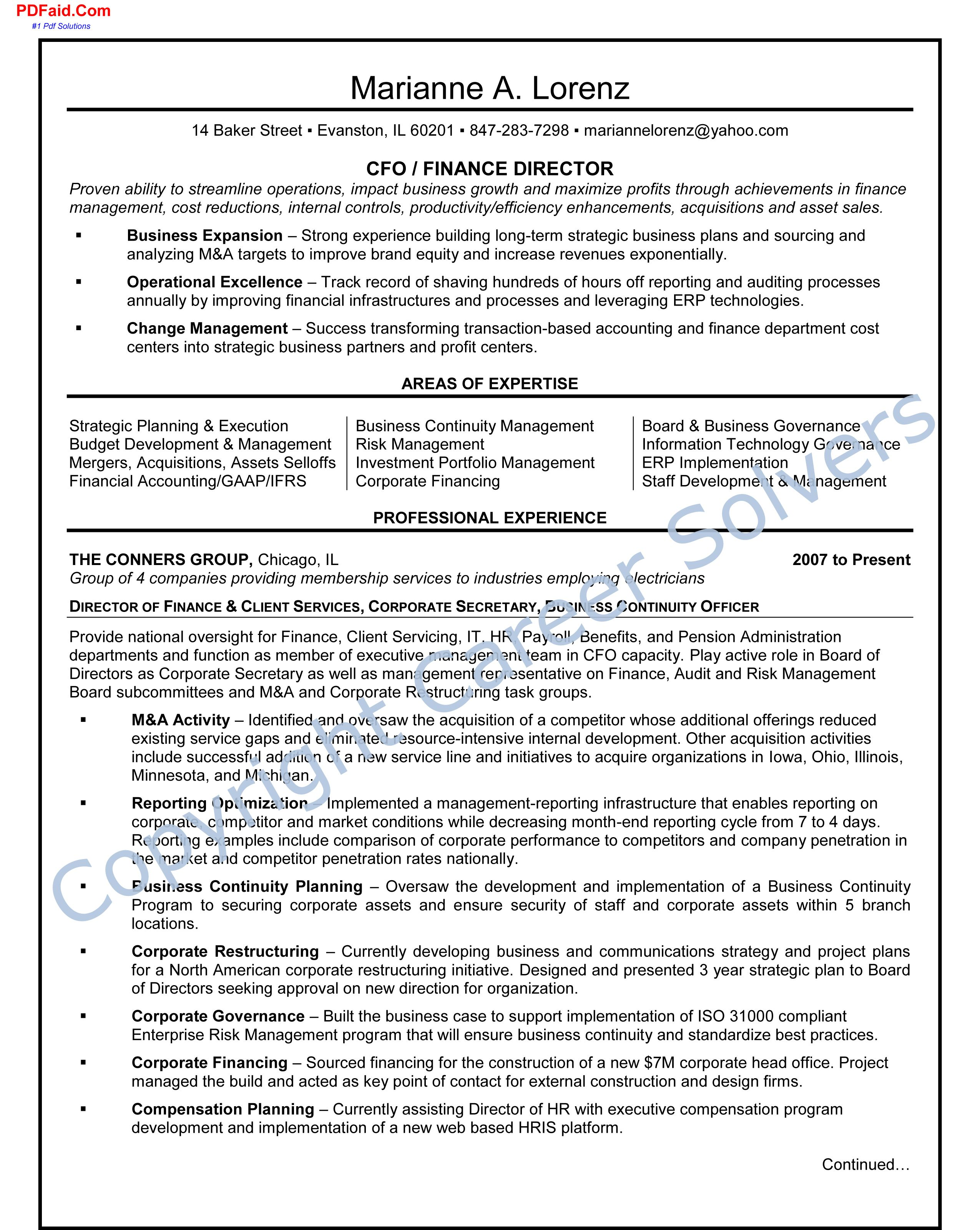 Finance Executive Cover Letter For Resume Resume Business Continuity