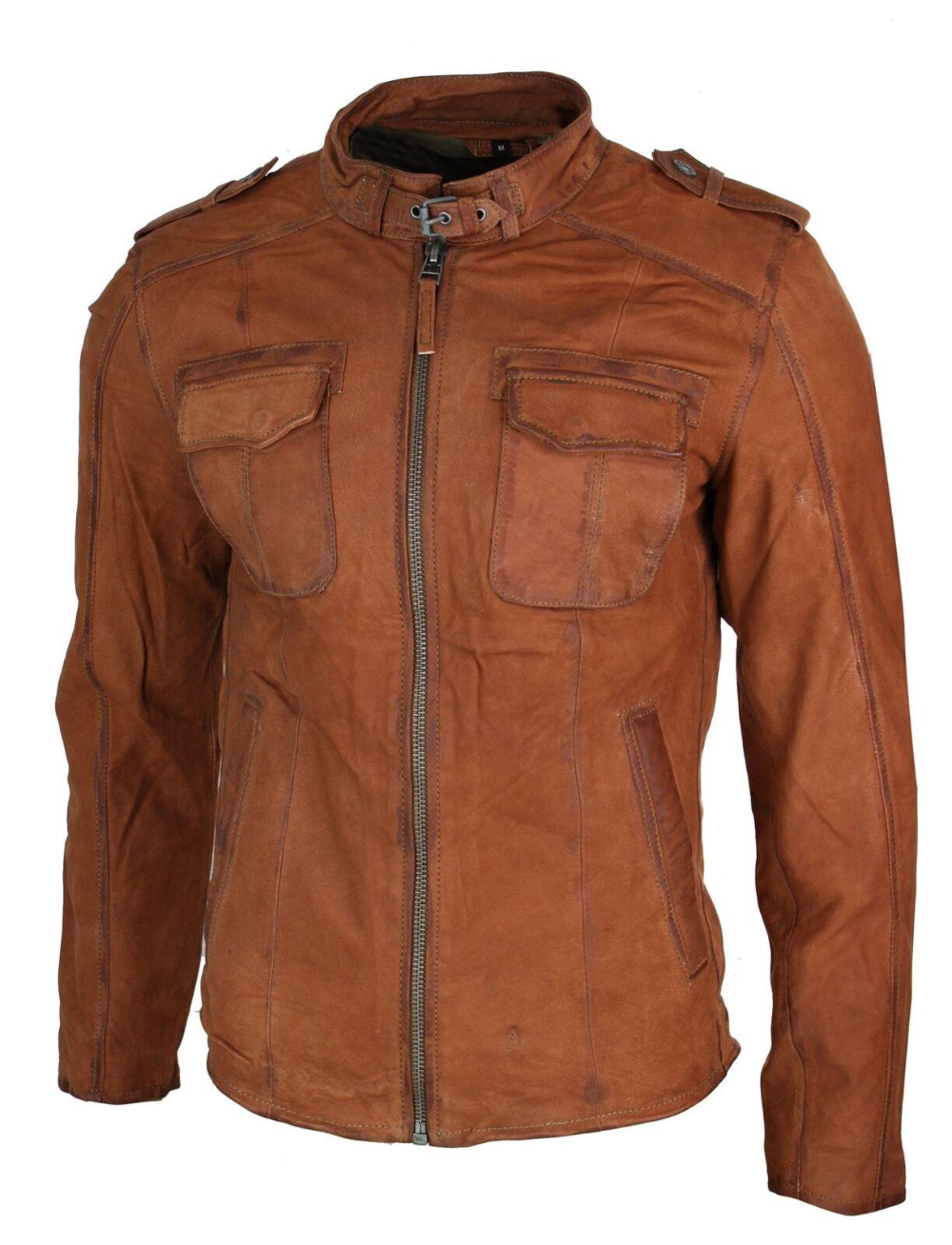 Mens Vintage Washed Genuine Leather Short Zipped Biker