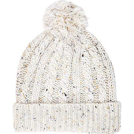 Ecru neppy cable knit beanie hat £12.00