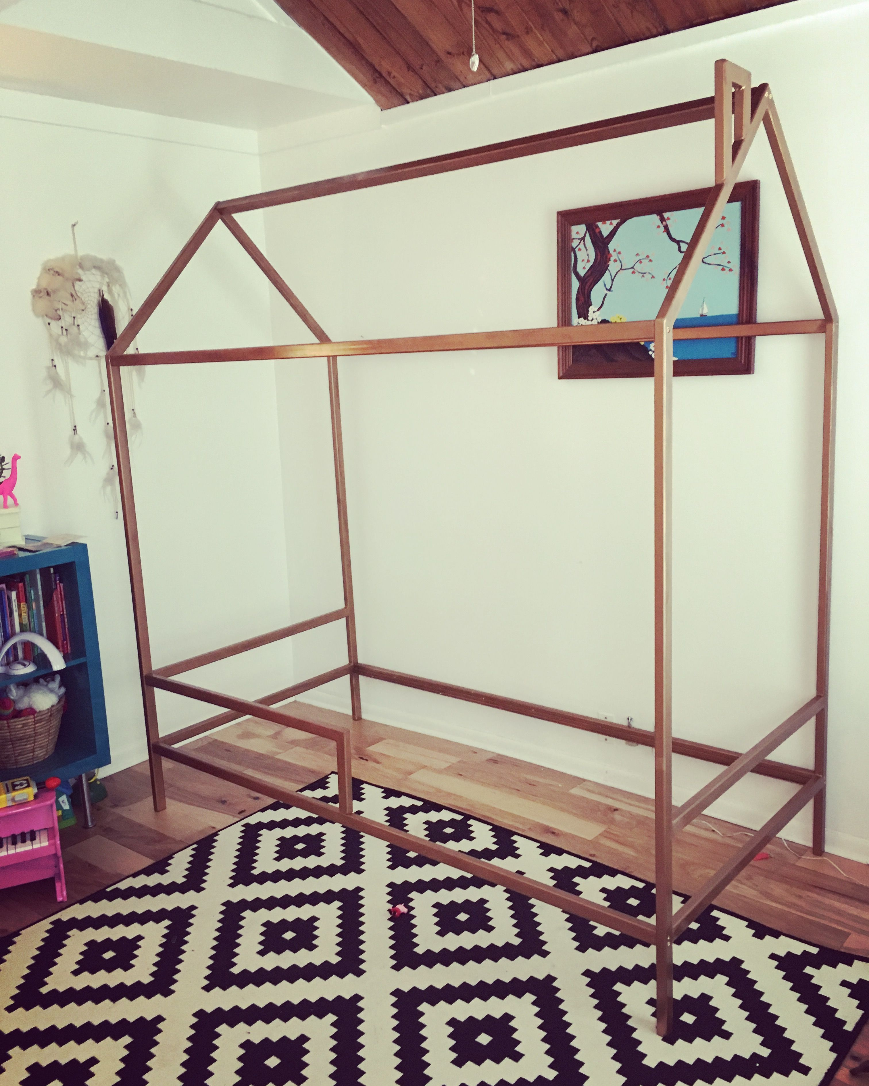 Modern House Twin Bed Frame Welded Metal For A Size Painted