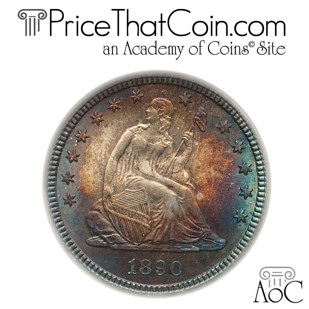 Pricethatcoin. Com daily coin: 1890 seated quarter, ngc ms66 cac.