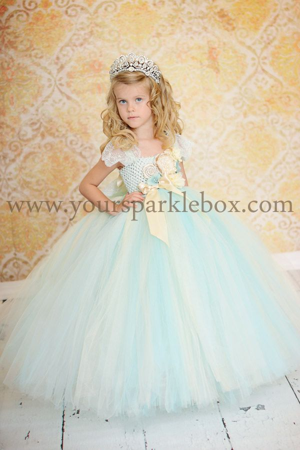 d69a0225aea6 Vintage Blue, Ivory and Champagne Tutu Dress Flower Girl by YourSparkleBox