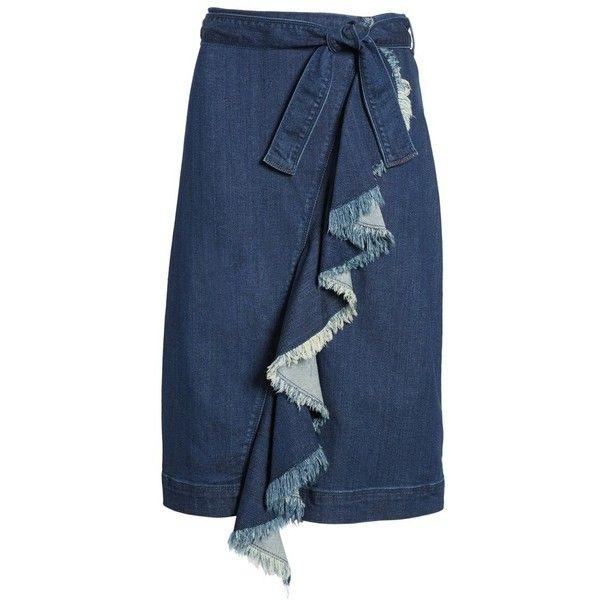 70ea8b8b84 Petite Women's Halogen Ruffle Front Denim Skirt (1.061.285 IDR) ❤ liked on  Polyvore featuring skirts, petite, stardust wash, frill skirt, ruffle skirt,  ...