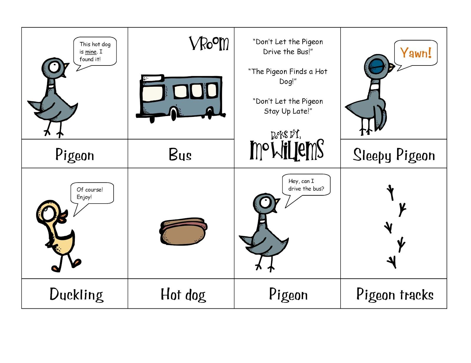 Printable About The Pigeon Books Preschool Printables Mo