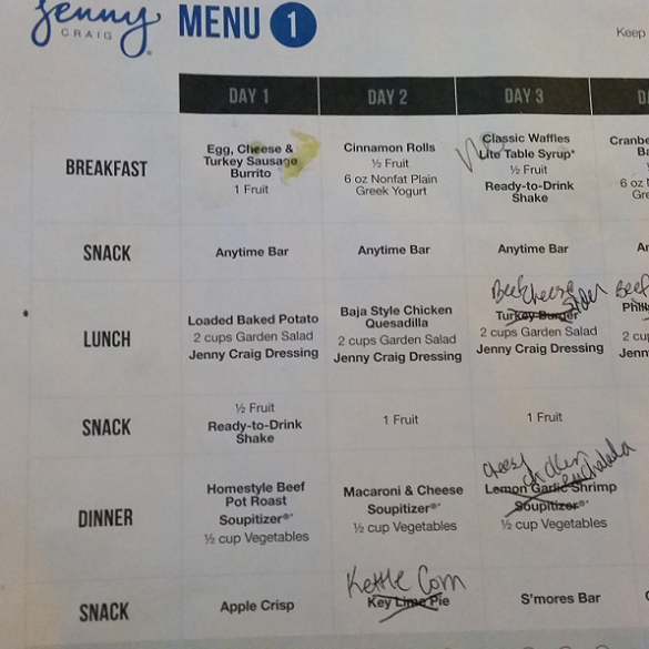 craig menu planner sample