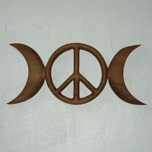 Triple Moon Peace Symbol Celtic Goddess Wiccan Pagan Peace Sign
