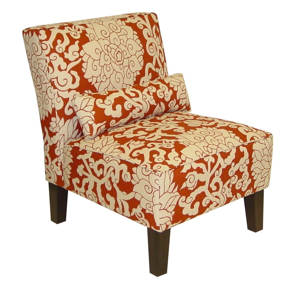 Traditional Slipper Accent Chair in Red with Damask