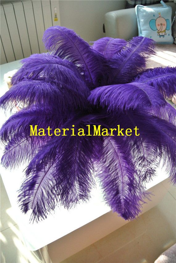 100pcs/lot 14-16inches purple Ostrich feather by MaterialMarket