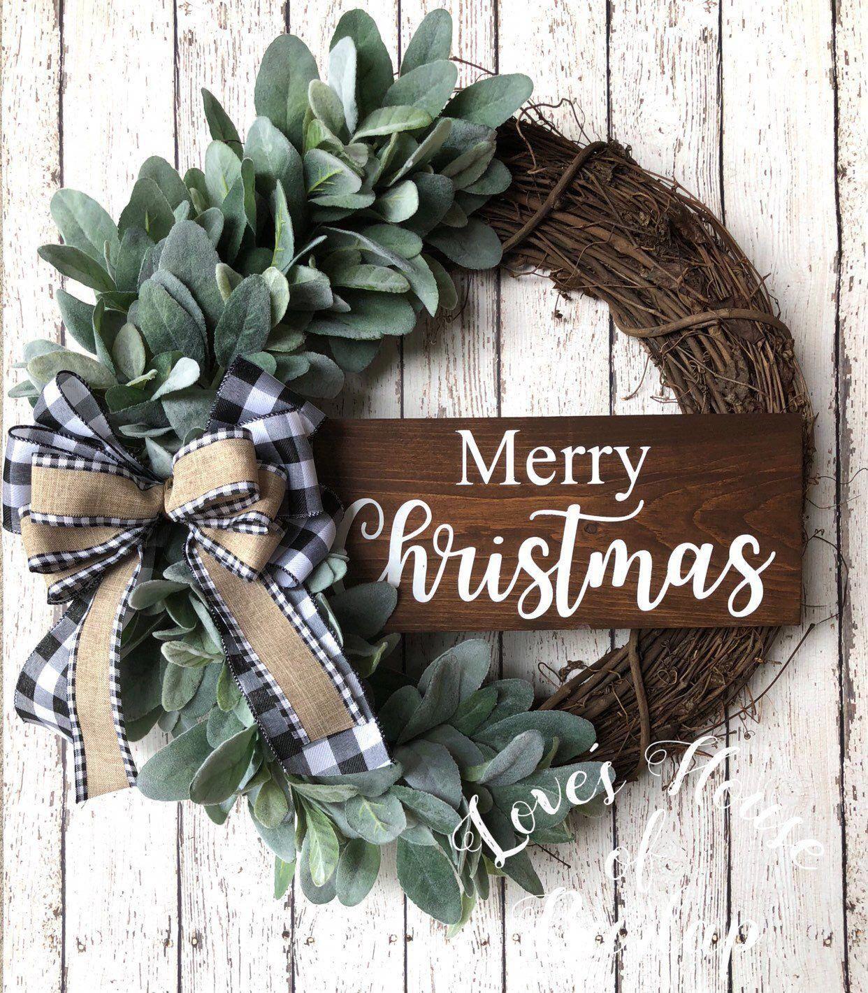 Photo of Christmas farmhouse wreath, Christmas wreath, farmhouse decor, Grapevine wreath, Buffalo plai…