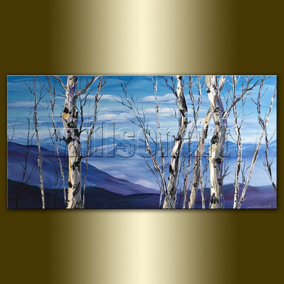Birch Tree Forest Landscape Painting Oil On Canvas Textured Etsy In 2020 Landscape Paintings Oil Painting Landscape Forest Landscape