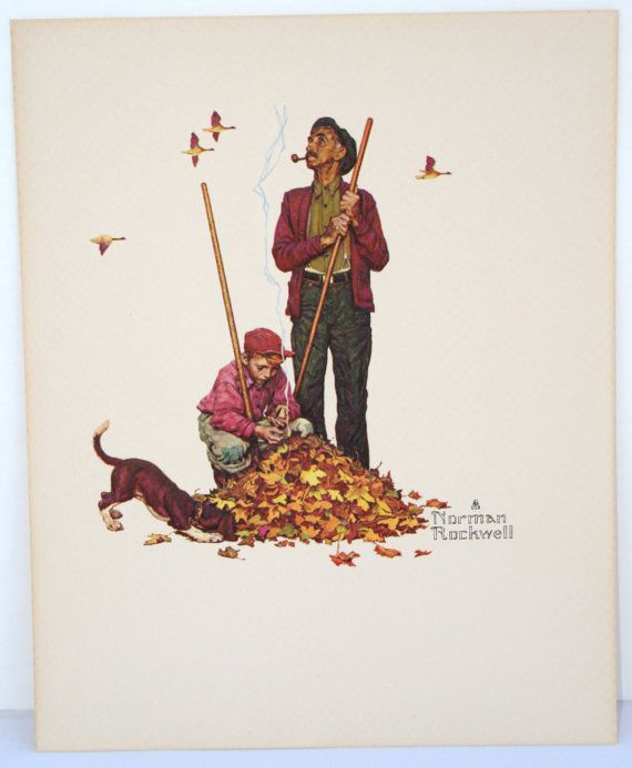 Norman Rockwell embossed prints Fall and by NorthCoastMiscellany