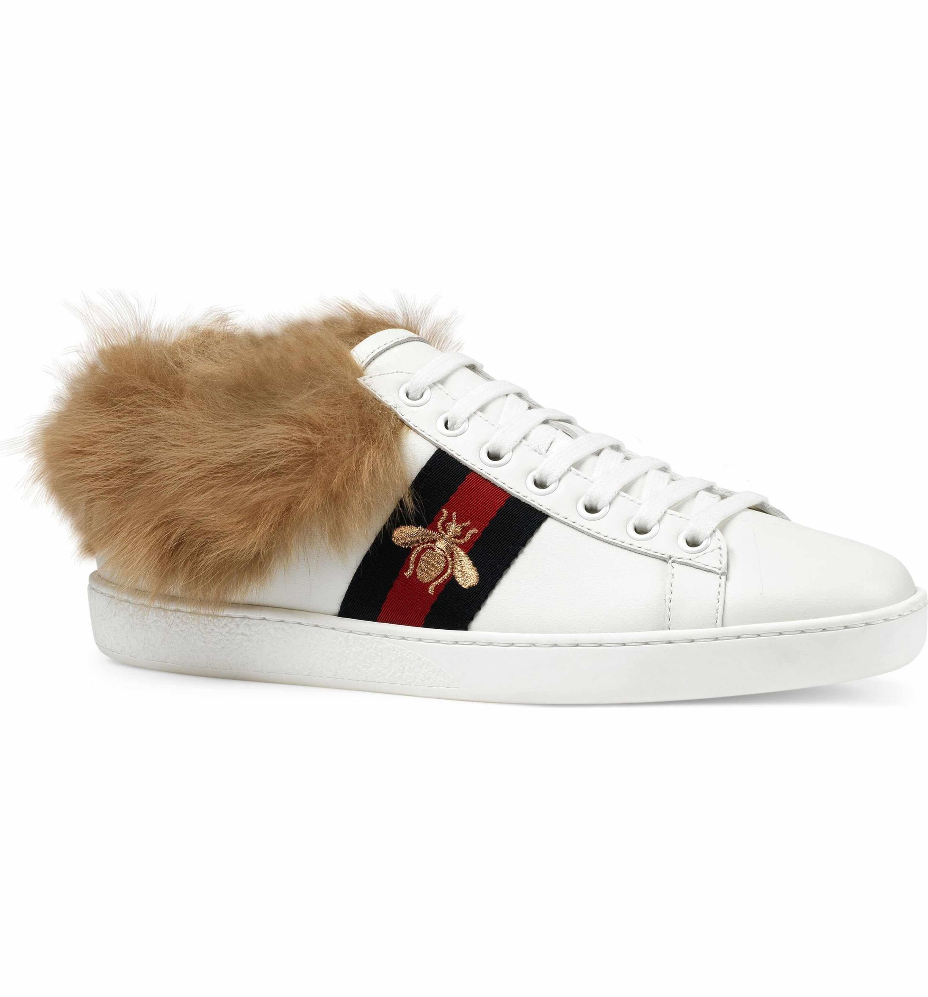 Gucci Women's New Ace Genuine Shearling Lining Sneaker GrhPToMM