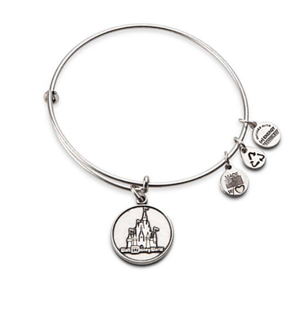 disney alex and ani cinderella castle silver charm bracelet nwt