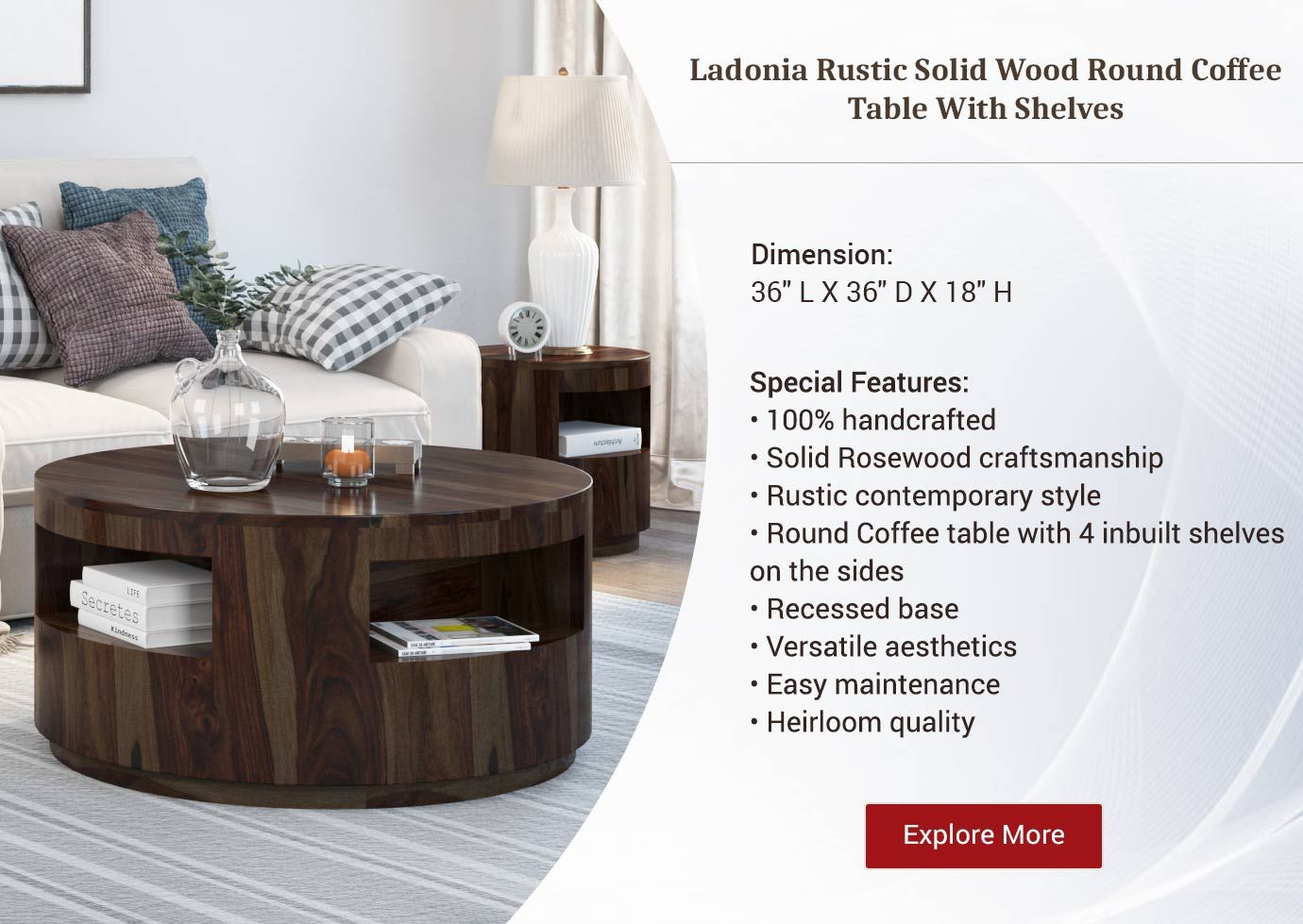 Ladonia Rustic Solid Wood Round Coffee Table Round Wood Coffee Table Coffee Table With Shelf Round Coffee Table [ 979 x 1380 Pixel ]