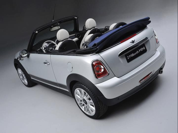 the 2 millionth mini production was a white silver metallic mini cabrio with denim blue top. Black Bedroom Furniture Sets. Home Design Ideas