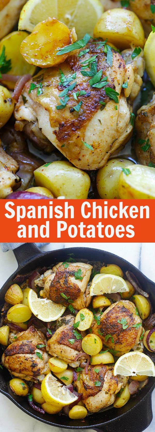Spanish Chicken and Potatoes - Crazy delicious one-pot Spanish chicken and potatoes bake with onions, garlic, and paprika. So good | rasamalaysia.com