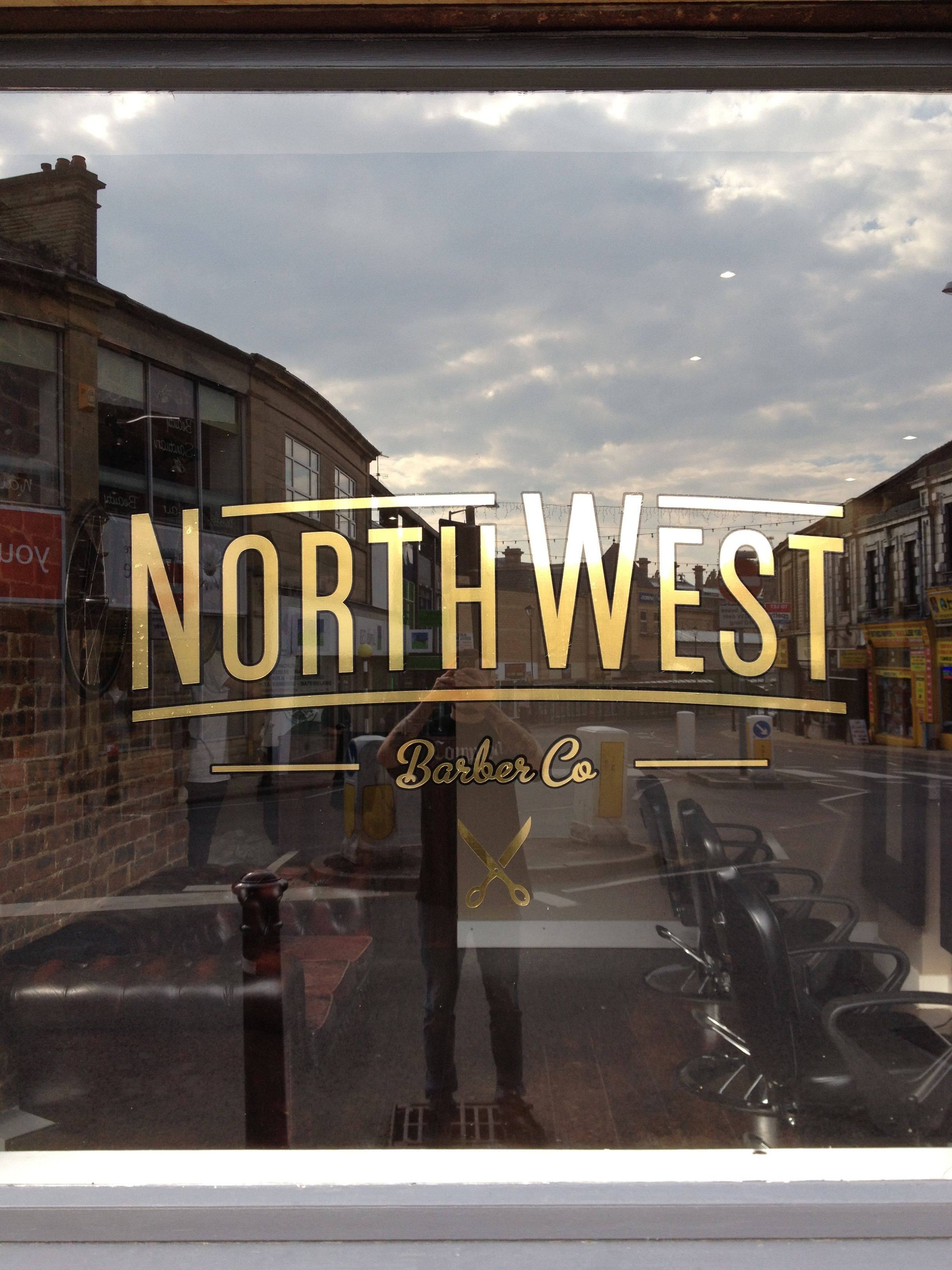 Old barber shop window - North West Barber Co Gold Window Graphic