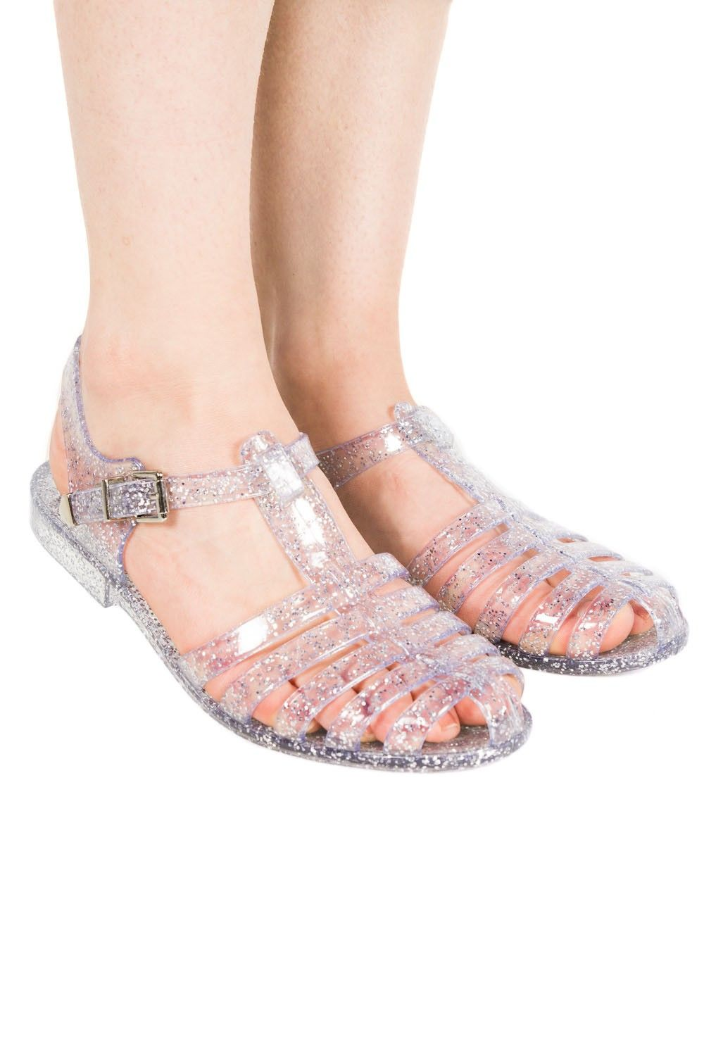 de99d37652c8 Aine Flat Jelly Shoes In Clear Glitter