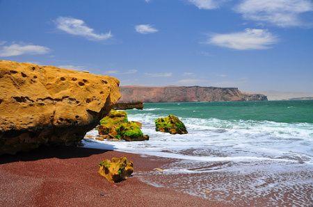 Beach On Red Sand Coast In Paracas Peru