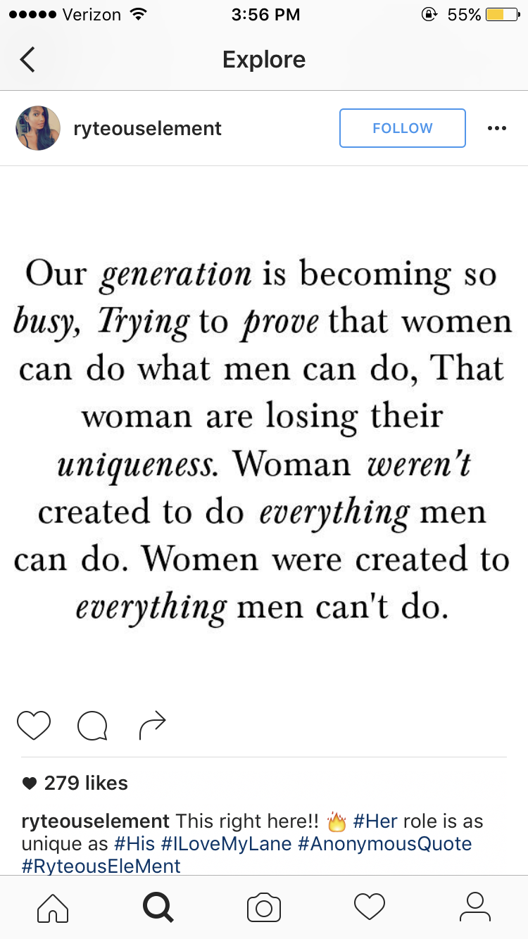 Saw This On My Explore Page On Ig Women Are Not Losing Our Uniqueness In This Day Age Unique Means A Diff Gender Roles Quote Feminine Quotes Modesty Quotes