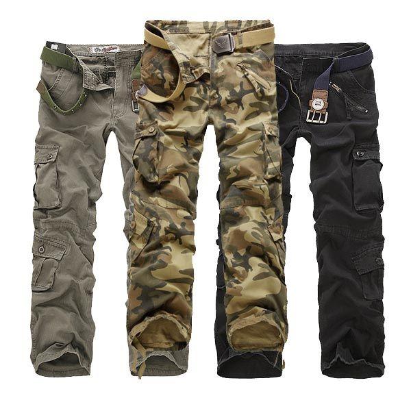 6e1c85df84695 Mens Casual Multi Pockets Cargo Pants Multi Colors Loose Straight Leg Pants