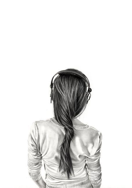 Girl Headphones Girl With Headphones Girl Drawing Portrait