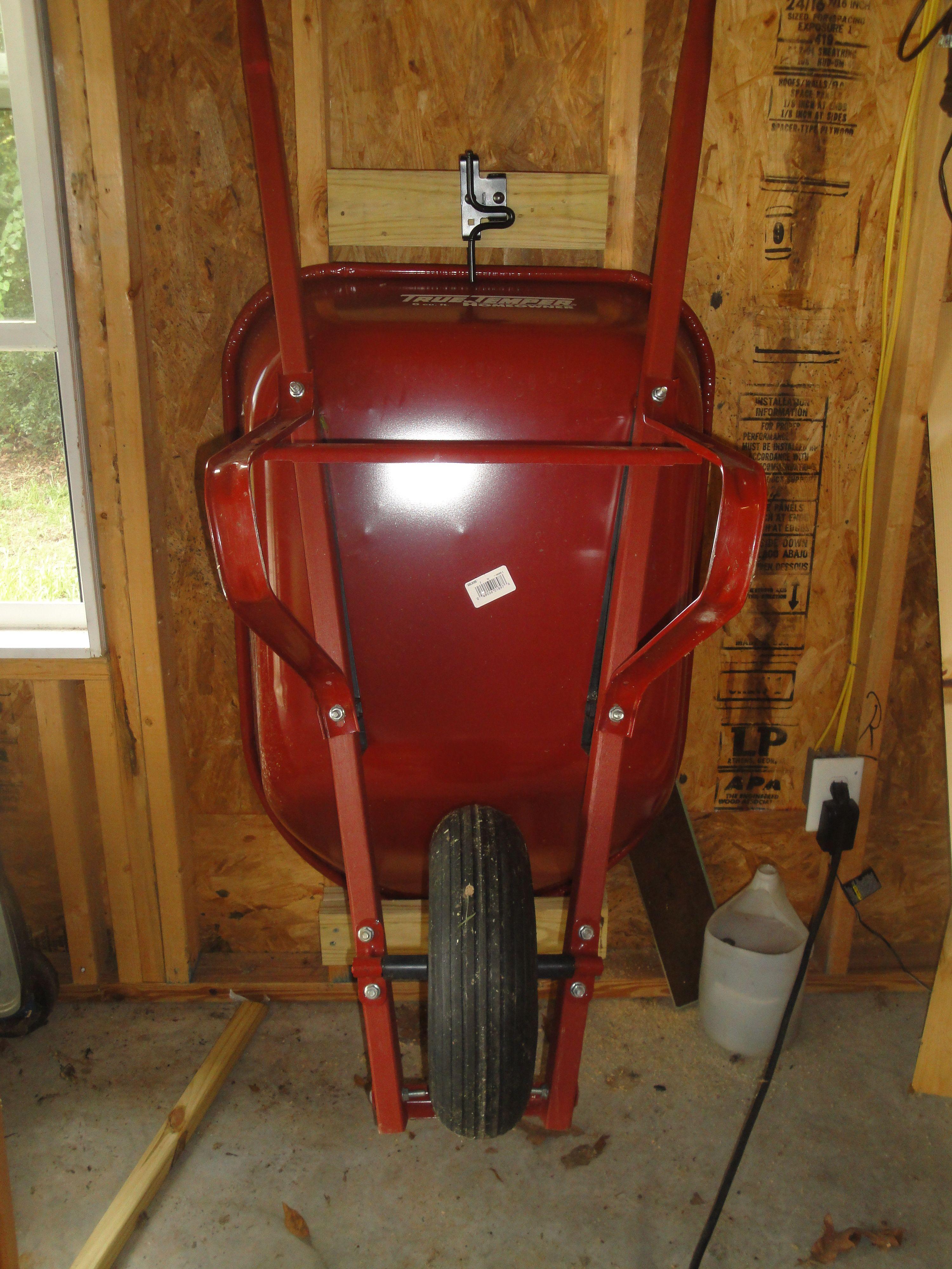 Storing My Wheel Barrow In The Garage Shed Storage Diy Garage