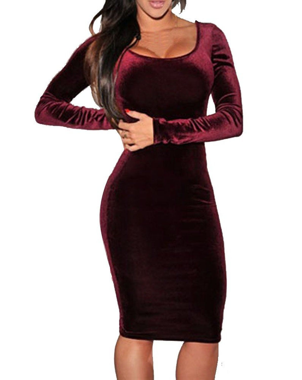 7ae4af26ee6 Amazon.com  Sexy Womens Wine Red Velvet Long Sleeve Bodycon Bandage  Cocktail…