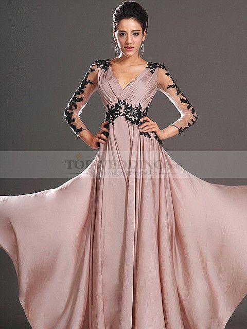Heidrun - A Linie Chiffon Abendkleid mit Perlen ...
