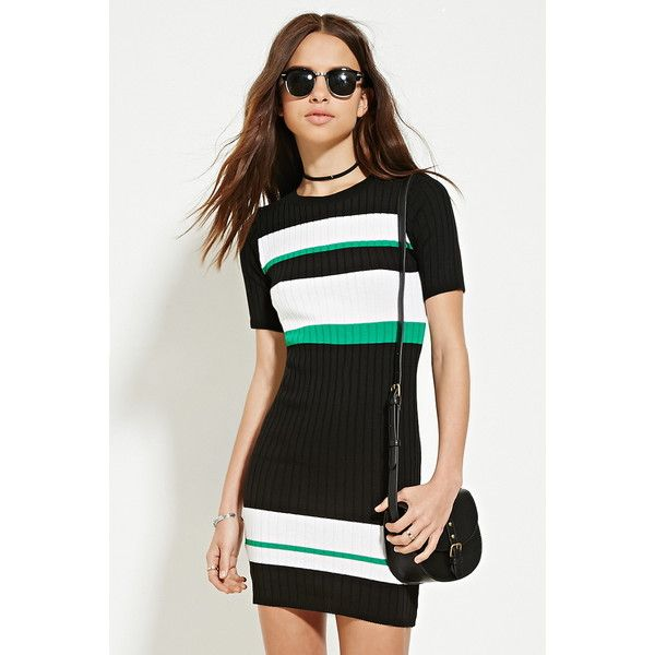 Forever 21 Women's  Colorblock Ribbed Bodycon Dress featuring polyvore, women's fashion, clothing, dresses, forever 21 dresses, full length dress, colorblock dress, short-sleeve dresses and white sleeve dress