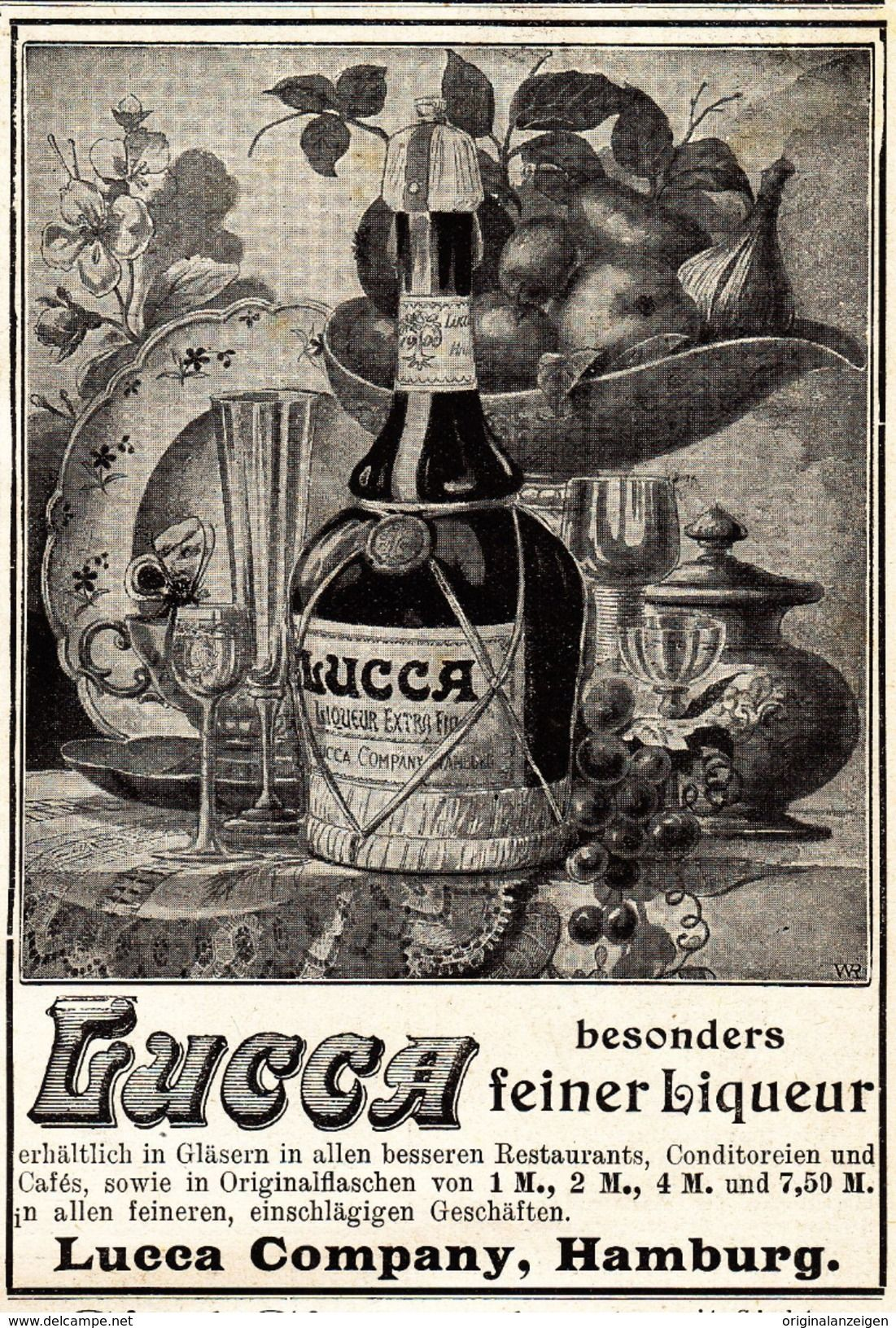 Werbung - Original-Werbung/ Anzeige 1901 - LUCCA LIQUEUR - HAMBURG - ca. 90 x 130 mm