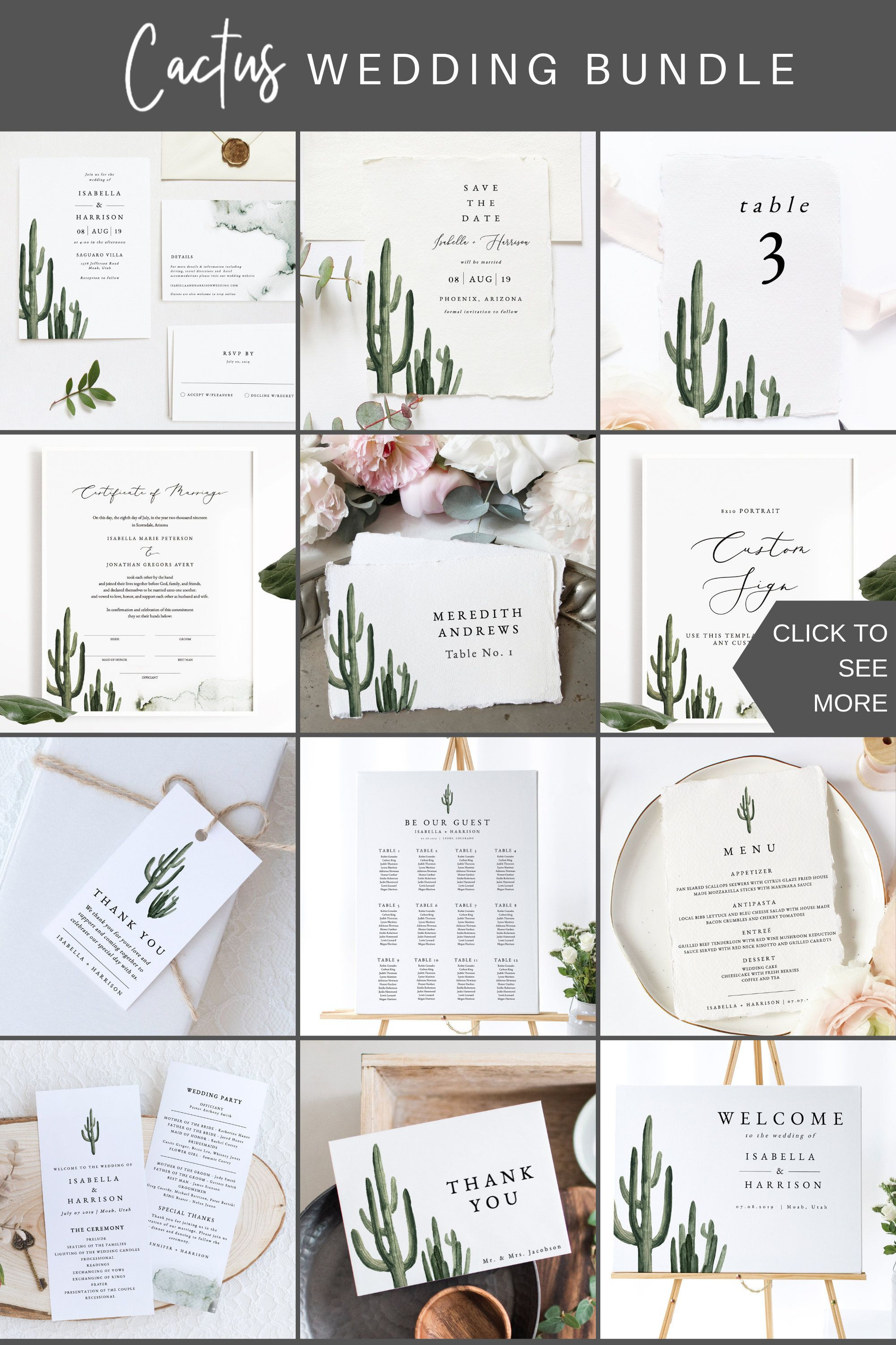 ELEANOR Cactus Wedding Bundle Desert Wedding Invitation  Etsy