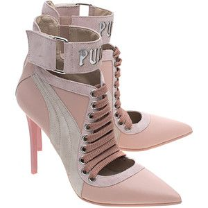 Fenty x Puma by Rihanna Lace Up Heel Silver Pink // Pointed leather pumps