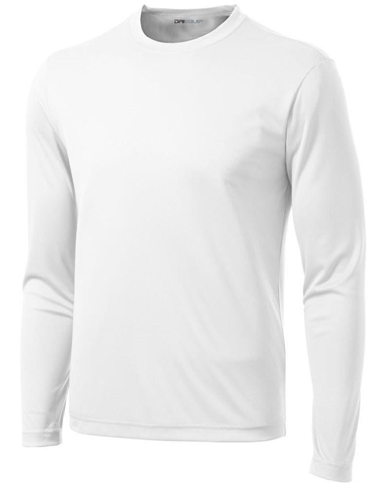 7b7a8df5131 DRI-EQUIP Long Sleeve Moisture Wicking Athletic Shirt-Large-White. DRI-