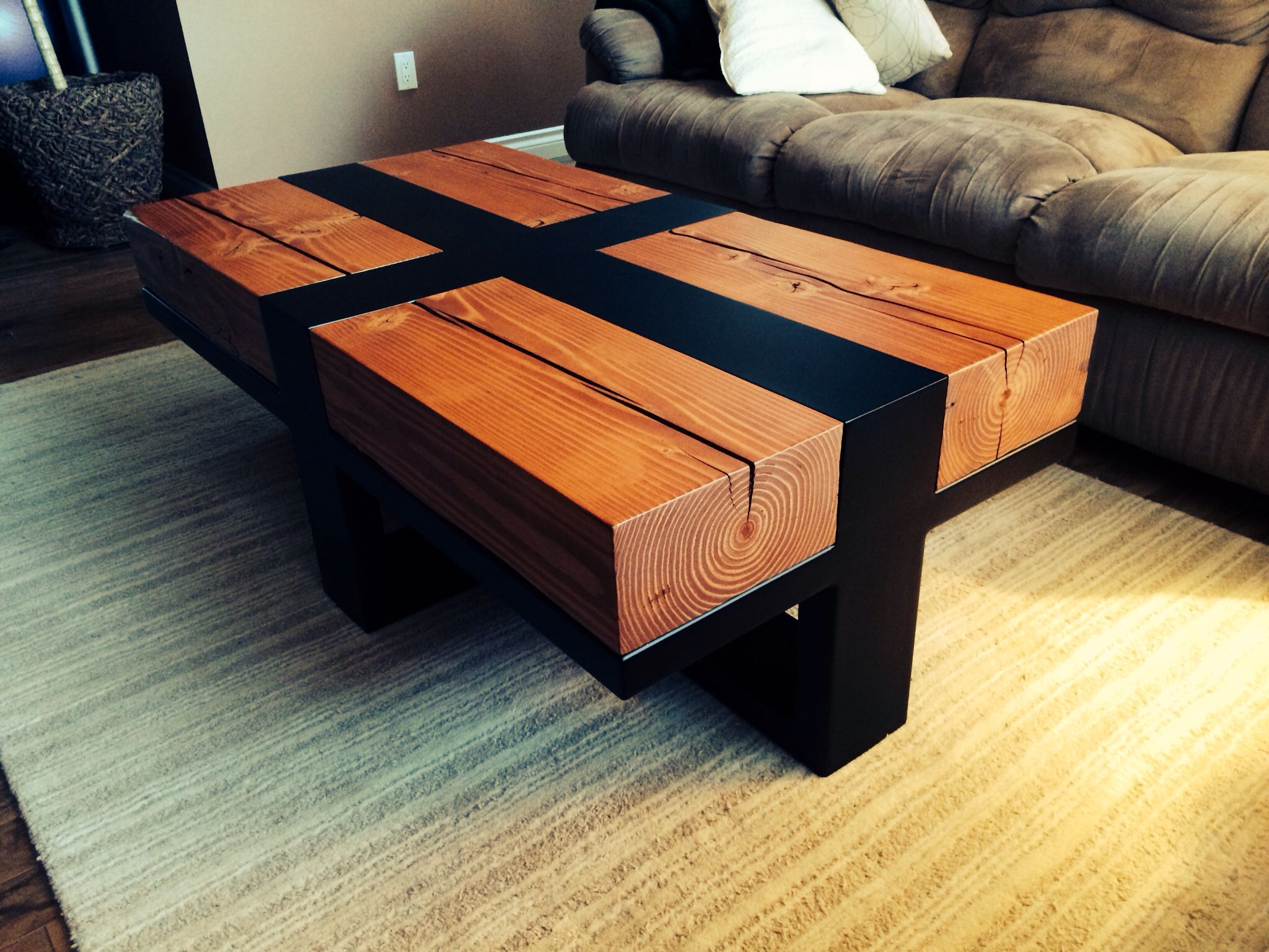 Coffee Table wood is Douglas fir salvaged from old Woodwards