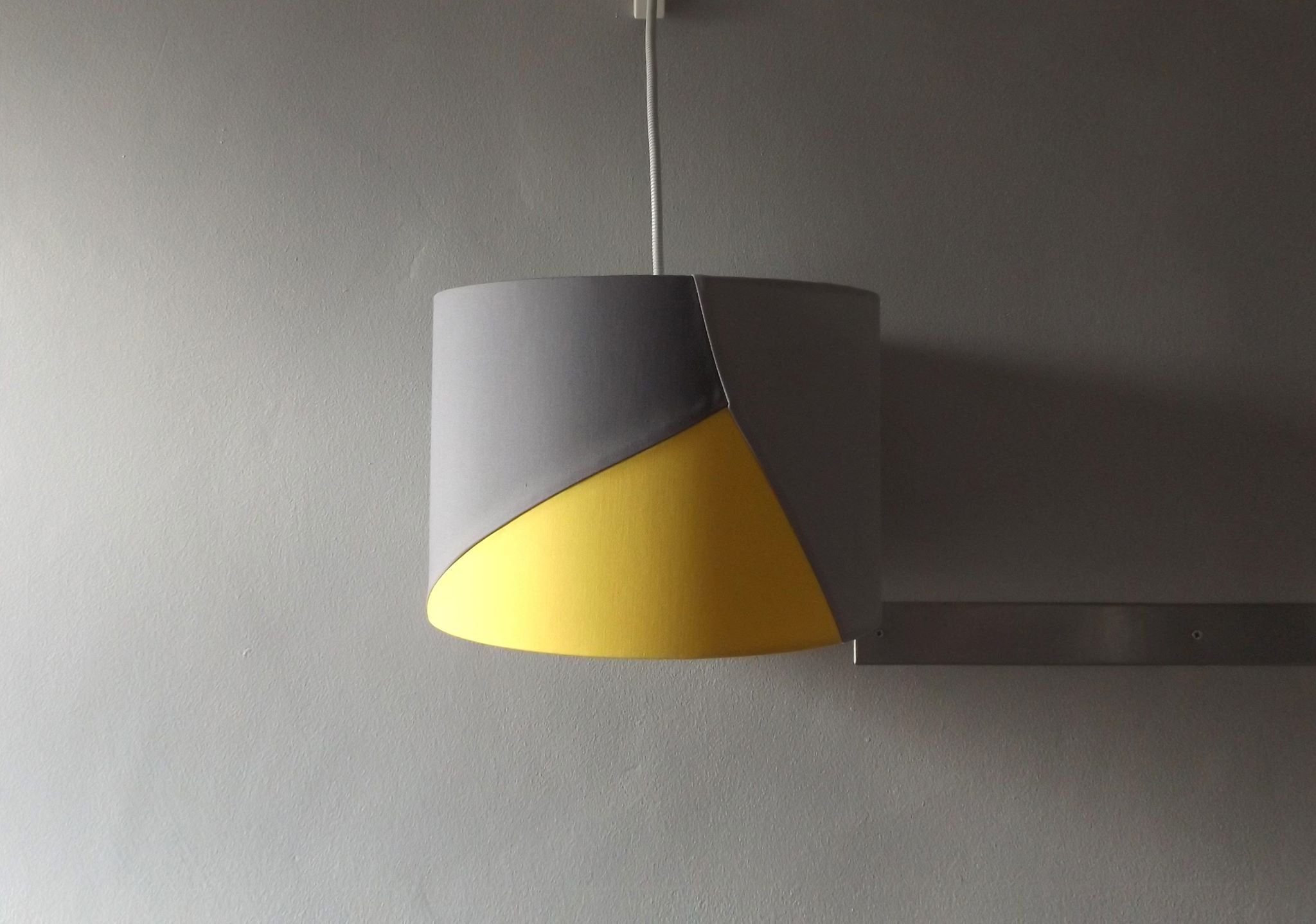 Geometric Patch Lampshade 30cm Drum Lamp Yellow And Grey Lampshade Geometric Decor By Katiemadelampsha Geometric Decor Handmade Lampshades Drum Lampshade
