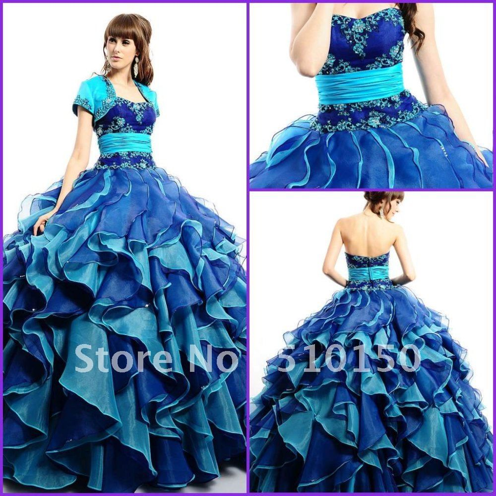 NEW! Exquisite Appliques Sweetheart Tiered Blue Organza ...