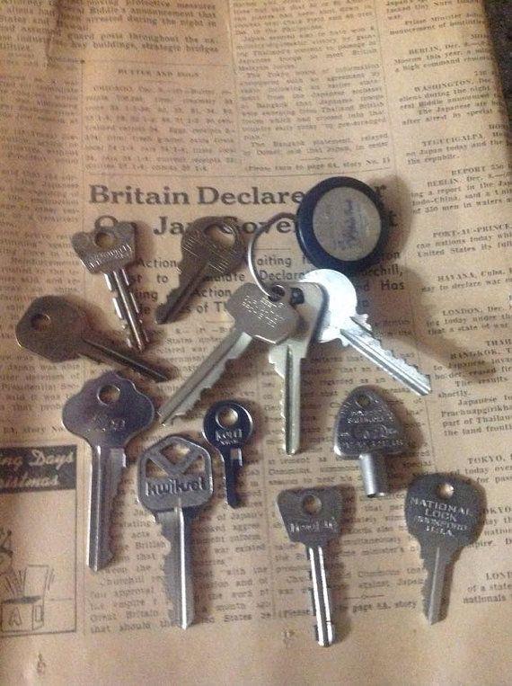 Vintage Keys, Key Collection, Keys, Old Keys, car dealer key ring brass, Lot of 12 Keys, wedding keys, wedding favors -  C303