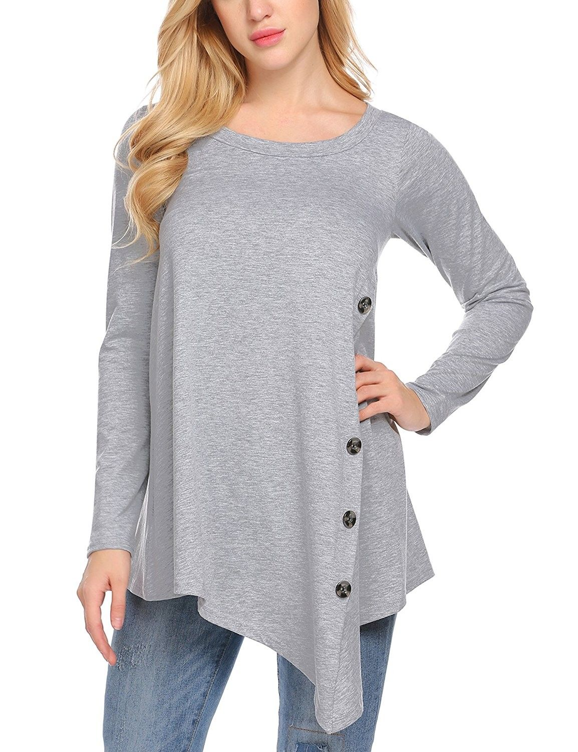 a0916c44a50 Womens Casual Long Sleeve Round Neck Button Asymmetrical Pleated T ...