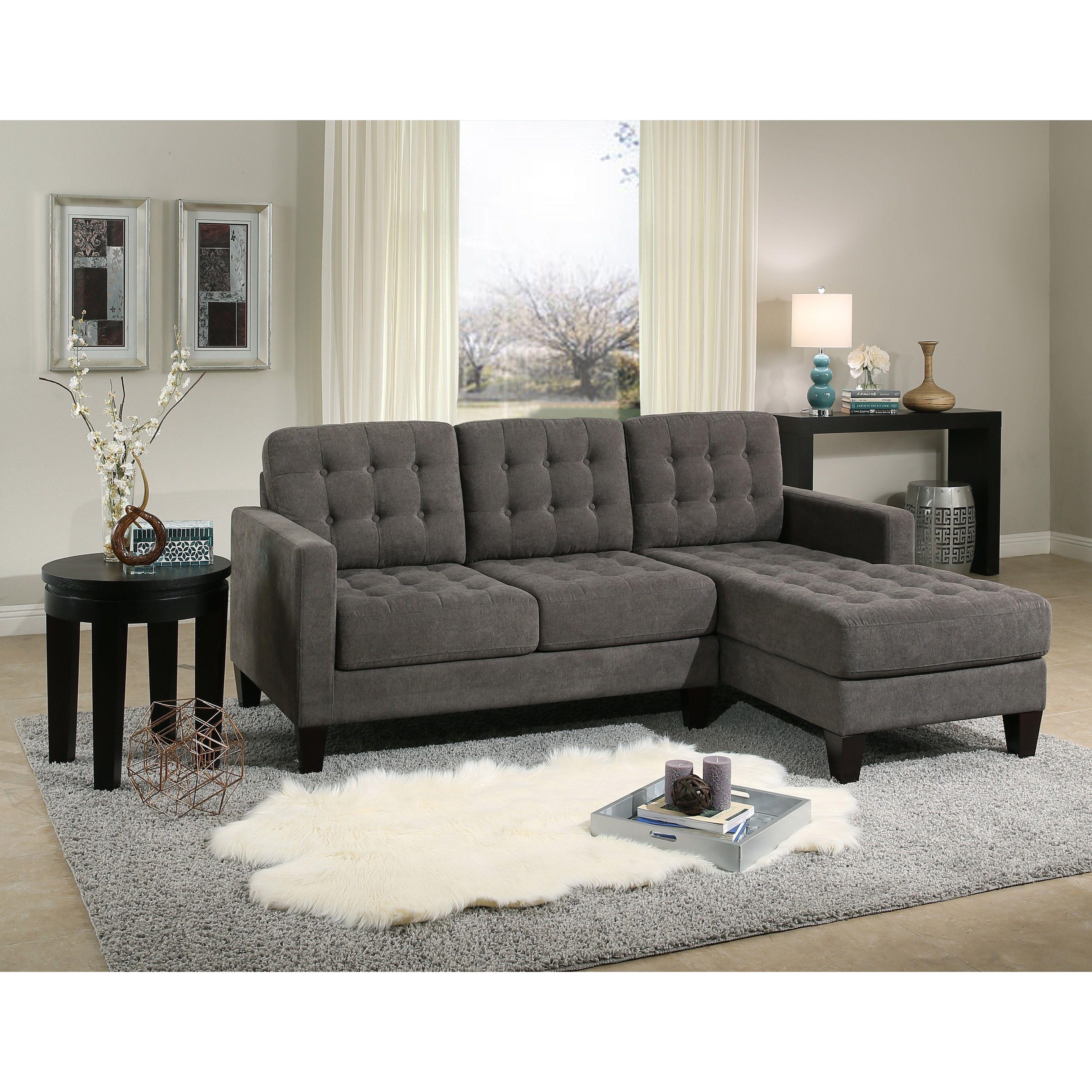 Best Abbyson Easton Grey Fabric Reversible Sectional Sofa Grey 400 x 300