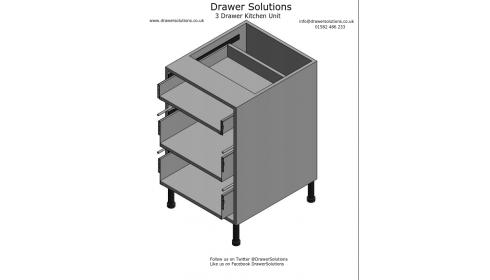 3 Drawer Kitchen Base Unit - 570mm Deep x 720mm High x 500mm Wide
